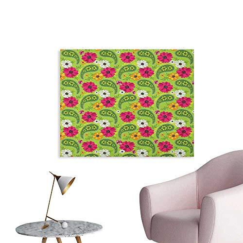 Wallpaper Floral Pattern with Vivid Paisley Print Old Vintage Boho Style Print Space Poster Pistachio Pink Orange W32 xL24 ()