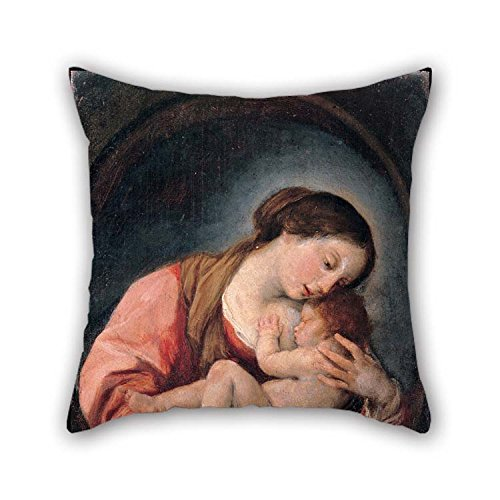 Brown Needlepoint Paisley (Artsdesigningshop Oil Painting Giovanni Bonati - Madonna with The Child Throw Pillow Covers 20 X 20 Inches / 50 by 50 cm Gift Or Decor for Pub Him Outdoor Kids Dining Room Home Theater - Twice Sides)