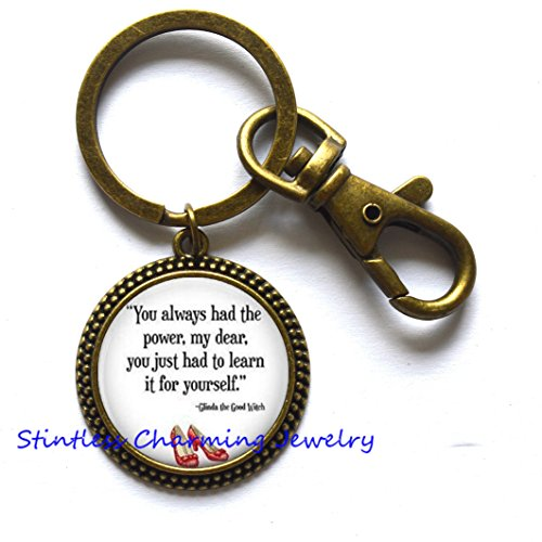 You've always had the power my dear, you just had to learn it for yourself- Book Quote Glass Dome Keychain Jewelry Key Ring,literature Keychain