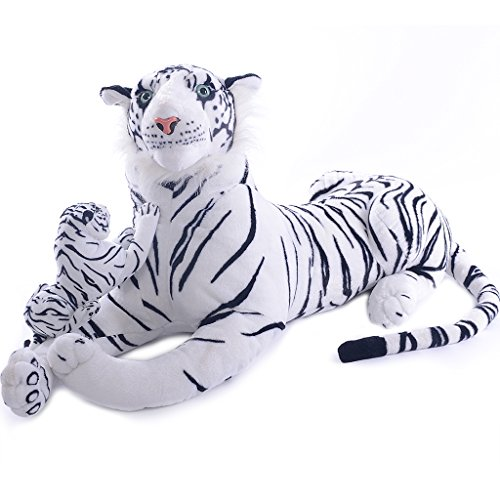 VERCART 43 inches Giant Realistic Stuffed Tiger Animals Soft Plush Toy White Tiger for Kids Birthday Gifts (with A Small Tiger)
