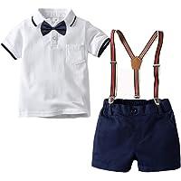 Mud Kingdom Niños Pequeños Traje de Caballero Camisa de Pajarita Shorts de Tirantes Verano Set 4Pcs