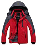 Wantdo Men's Waterproof Mountain Jacket Fleece Windproof Ski Jacket US S   Red S