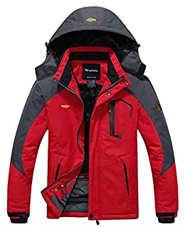 Wantdo Men's Waterproof Mountain Jacket Fleece Windproof Ski Jacket US L Red L (B00NHO556A) | Amazon price tracker / tracking, Amazon price history charts, Amazon price watches, Amazon price drop alerts
