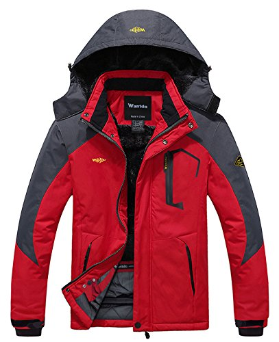 Wantdo Men's Waterproof Jacket for Camping Fleece Windproof Ski Jacket Red...