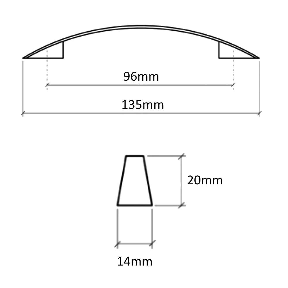 AERZETIX 5x Tirador para caj/ón alacena puerta mueble armario Oural plata mate 96mm C41707