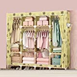 LaaLaa Wardrobe hangers storage Simple solid wood wardrobe, sliding curtain,Standing Clothes Storage Organizer ,Home finishing decoration Portable Product Size:170cm45cm175cm,D