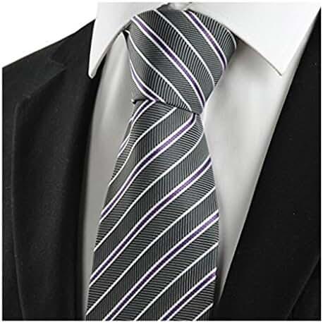 MENDENG Classic Striped Blue Grey Red Jacquard Woven Silk Men's Tie Necktie Knit
