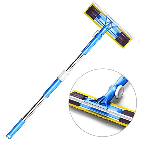 Price comparison product image Professional Window Squeegee with Scrubber 3-in-1,  All-Purpose Squeegee Cleaner and Microfiber Scrubber with Extension Pole,  Outdoor Extendable Glass Cleaning Kit for Car,  Shower,  High Windows (180)