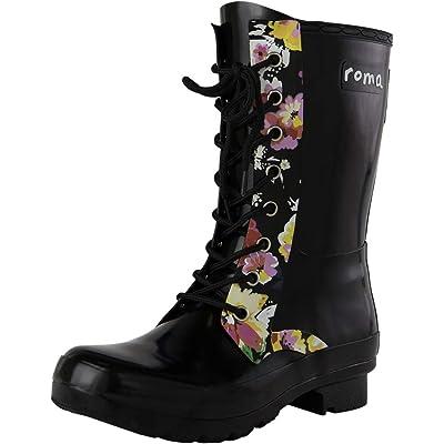 Roma Boots Women's EPAGA Short Lace-Up Rain Boots | Mid-Calf