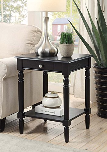 - Convenience Concepts French Country End Table with Drawer and Shelf, Black