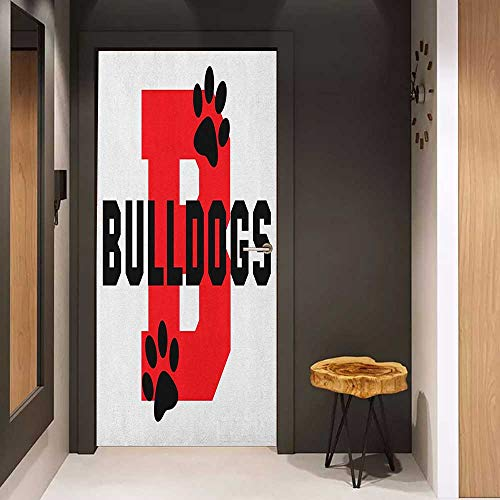Onefzc Photo Wall Decal English Bulldog Paw Print Silhouette and Giant B Letter Background Custom Logo Design for Home Decor W36 x H79 Red Black White