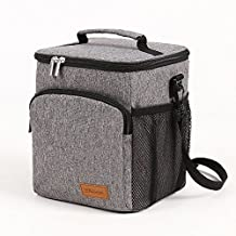 Insulated Lunch Box: WELLuse Adult Lunch Bag For Work office , Men, Women Thermal Cooler Tote for School Kids Teens Boys Girls With Adjustable Strap, Front Pocket and Side Pocket Grey [Unisex]