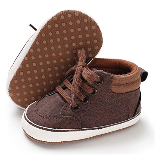 BENHERO Baby Girls Boys Canvas Shoes Toddler Infant First Walker Soft Sole High-Top Ankle Sneakers Newborn Crib Shoes (6-12 Months M US Infant), B-Brown