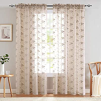 Lazzzy Sheer Curtains Embroidered Voile with Floral Design W55 x L63, Lilac