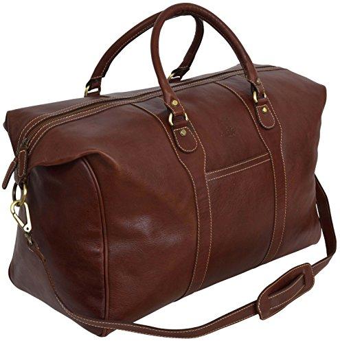 """Gusti Leder studio """"Jerome"""" borsa da viaggio elegante per sport fine settimana stile classico marrone 2R9-20-14"""