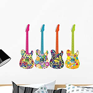 Wallmonkeys Flower Power Guitars Wall Decal Sticker Set Individual Peel and Stick Graphics on a (24 in H x 24 in W) Sticker Sheet WM364905