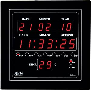 Ajanta Quartz Plastic Digital Clock OLC-302 (Black)