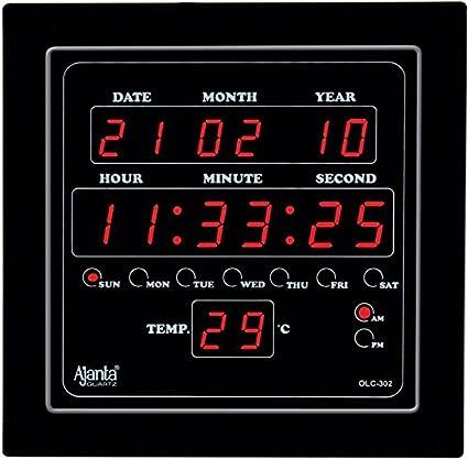 Ajanta Quartz Plastic Digital Clock OLC-302 (Black)
