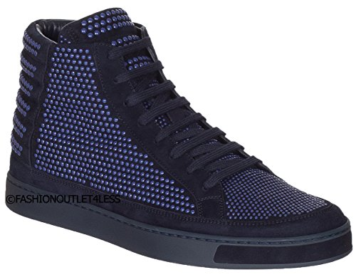 Gucci+Men%27s+Dark+Blue+Suede+Exclusive+Edition+GG+High+Top+Sneakers+Shoes%2C+Blue%2C+9