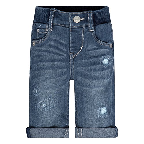 Levi's Baby Girls' Rib Waistband Ripped Skinny Jean, Vintage Waters, 6/9M (Baby Levi Jeans Girls)