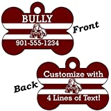 Mississippi State Bulldogs Double Sided Pet Id Dog Tag Personalized With 4 Lines of Text