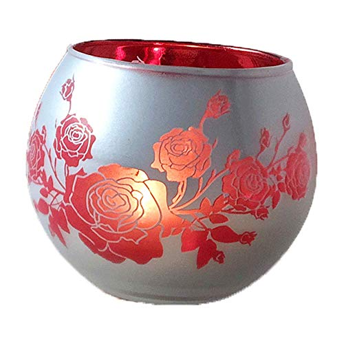 Rainbow Red Flower Creative Candlestick Glass Romantic Printing Ball Ins Candle Holder Pillar Taper Home Wedding Party Dinner Fireplace Candlelight Dining Room Decor Centerpiece Gift for Friend Family