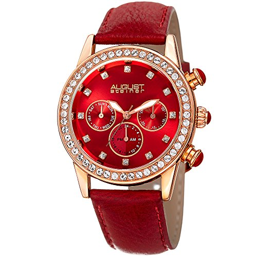 August Steiner Women's Quartz Stainless Steel and Leather Casual Watch, Color:red (Model: AS8236RD) ()