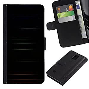 LASTONE PHONE CASE / Lujo Billetera de Cuero Caso del tirón Titular de la tarjeta Flip Carcasa Funda para Samsung Galaxy Note 4 SM-N910 / Minimalist Color Stripes