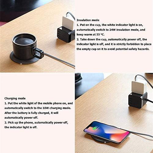Color : A Intelligente termostato Tenere in Caldo 55 /° C Mat Coffee Cup Warmer con la Tazza Ufficio Multifunzione Scrivania Wireless Charging