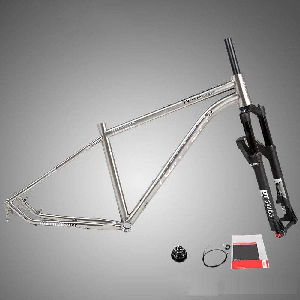 自転車本体ブラケット フロントフォークコンペティショングレードの特別なバレルシャフトコントロールフォークDTサスペンションシステム付きチタン合金マウンテンフレーム クイックマウント調整可能な合金自転車ラック (色 : 銀, サイズ : ワンサイズ) 銀 ワンサイズ