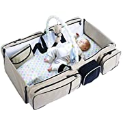 Perfect 4 in 1 Portable Unisex Design Newborn Travel Bassinet Playpen - Baby Bed, Diaper Bag Organizer, Mobile Changing Station Pad and Baby Play Gym - Perfect Present for New Parents
