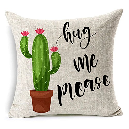 Price comparison product image Colorxy Decorative Throw Pillow Covers Please Hug Me Cactus Funny Quote Cotton Linen Cushion Covers Home Decor Gift 18 x 18 inch