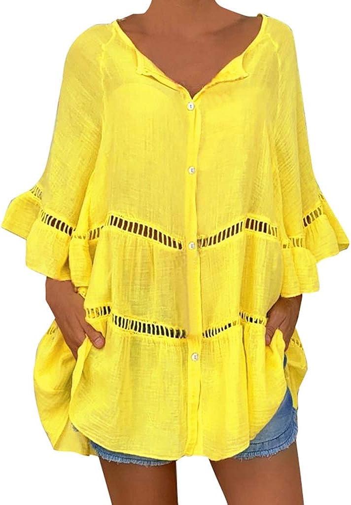Luckycat Mujeres Talla Grande Camiseta con Mangas Largas Casual Blusa Tops Mujer Camiseta Manga Corta de Algodón Lino con Volantes sólidos Camisas de Mujer Talla Grande Blusa Casual Elegantes: Amazon.es: Ropa y