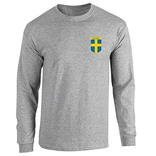 Throwback Costume Ideas (Sweden Soccer Retro National Team Costume Sport Grey L Full Long Sleeve Tee)