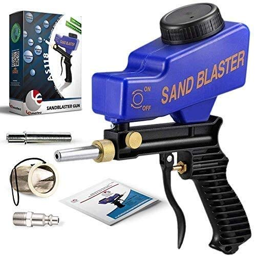 LE LEMATEC Portable Sand Blaster Gun Kit, Multipurpose Sandblasting Tool Complete with Connector, Extra Steel Tip and Media Mesh Filter, for Cleaning Rust, Dirt and Paint, and Corrosion Prevention