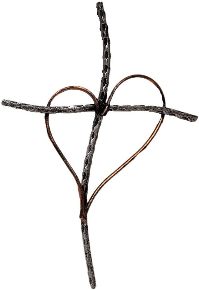 """Gifts & Decor Decorative Wall Cross with Heart, Cast Iron Metal, 13"""" (Silver)"""