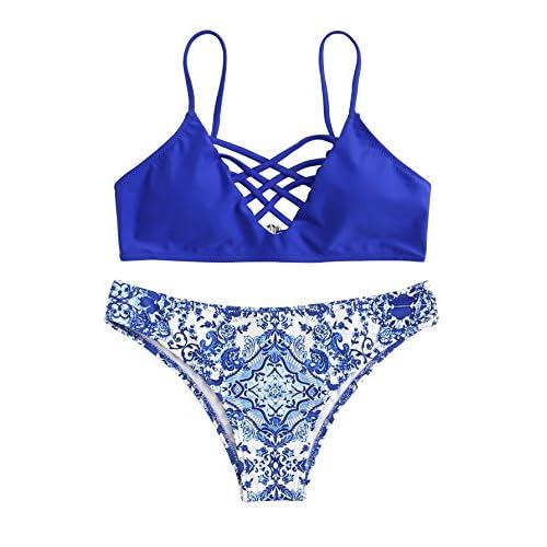 ROMWE Maillots de Bain 2 Pièces Bikini à Bretelle Bikini de Plage Push-up Rembourré Piscine Sans armature Bleu