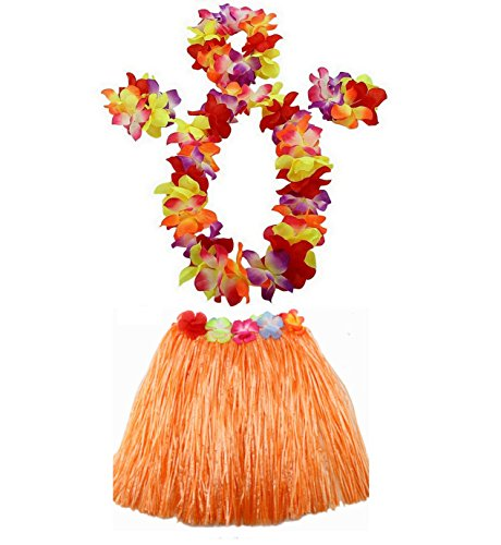 Hawaii Dance Costume (1 Set 40cm kids Party Hawaii Dress Hula Grass Skirt by AniiKiss (Orange))