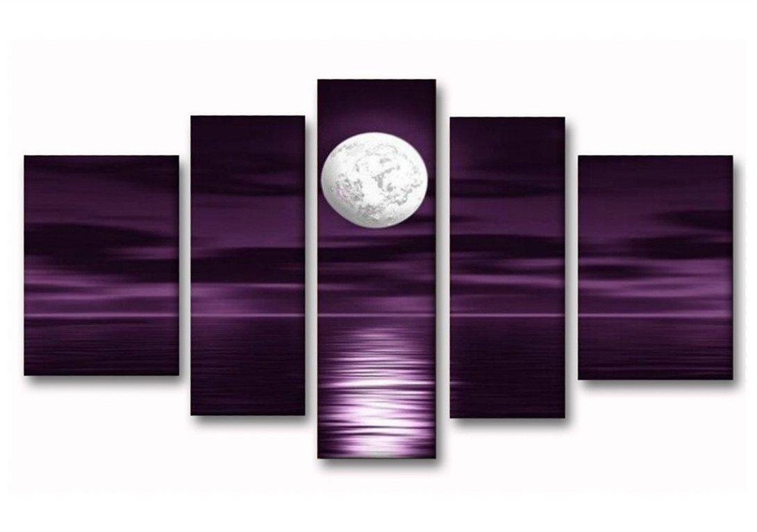非常に芸術的パープルSky Full Moon Sea Night Scapeキャンバス絵画100 %ハンドペイント油絵キャンバスホーム装飾5個/セット木製フレーム吊り壁アート 14*20in*2pcs+10*28in*2pcs+10*32in*1pc 14*20in*2pcs+10*28in*2pcs+10*32in*1pc  B0721HHZDL