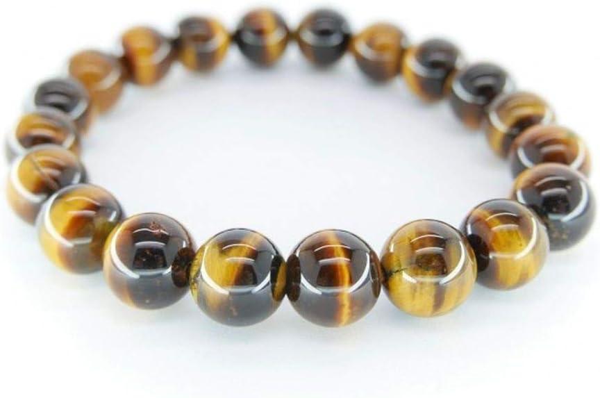 Pulsera de Ojo de Tigre Bolas 12mm Minerales y Cristales, Belleza energética, Meditacion, Amuletos Espirituales