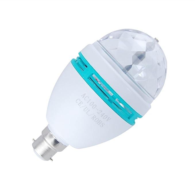 Jambo B22 moderno colorido lámpara E27 3 W bombillas LED RGB Auto rotación luz de la etapa fiesta disco: Amazon.es: Iluminación
