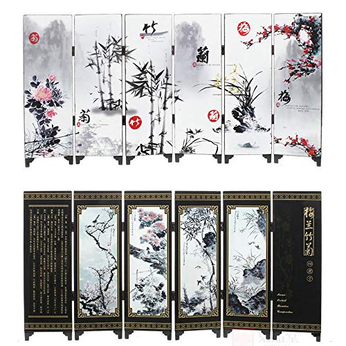 Yushen Mini Chinese Antique Painting Folding Screens Desktop Decoration Antique Ornaments Lacquer Mini Room Dividers Panel Arts Gifts (Plum Blossoms, Orchids, and Chrysanthemums)