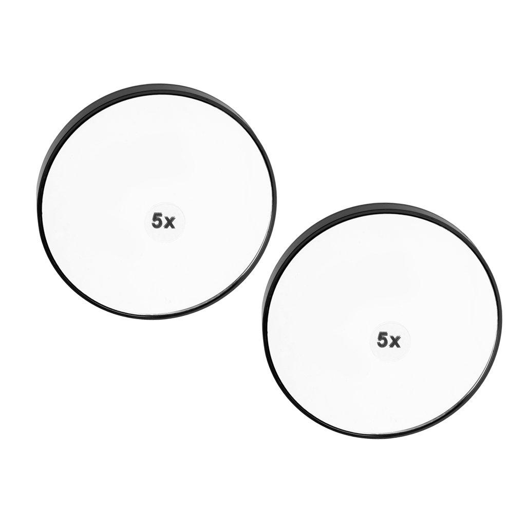 Baoblaze 2x Miroir Grossissant Adhésif Miroir Maquillage Ventouse pour Salle de Bain/Rasage - 5x