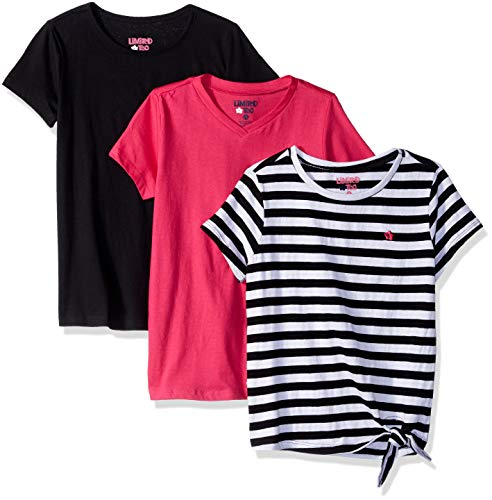 Limited Too Girls' Big 3 Pack Short Sleeve Classic T-Shirt Set, Knot tie Black/Multi Color, 7/8