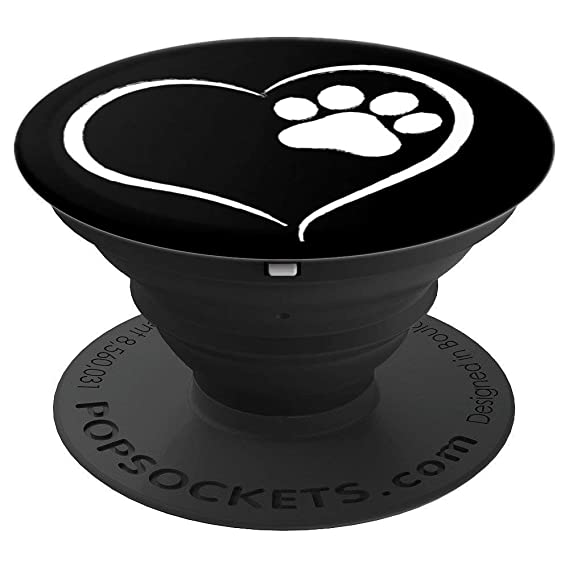 PAW PRINT GRIP BLACK WITH WHITE HEART DOG/CAT PRINT GIFT - PopSockets Grip  and Stand for Phones and Tablets
