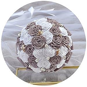 Azaleas Wedding Flowers Roses Tassel Crystal Pearl Wedding Bouquet, Wedding Bride Holding Bouquet Roses Bridal Artificial Silk Flowers for Wedding 54