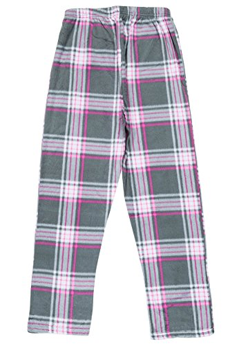 North 15- Girls Super Cozy Plaid Minky Fleece Pajama Bottom Lounge Pants-L1527G-Design5-8 Grey-Pink