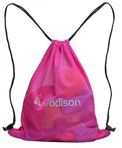 WODISON Lightweight Sports Gym Beach Drawstring Mesh Backpack Sackpack Rose
