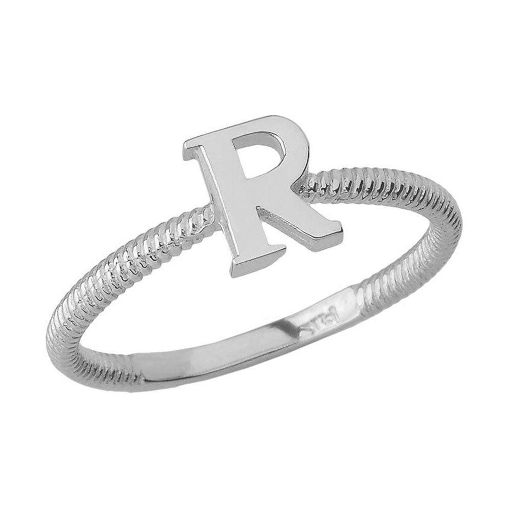 Women's 925 Sterling Silver ''R'' Initial Stackable Rope Design Ring (Size 4.5)