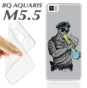 J594 BQ AQUARIS M5.5 M 5.5 CARCASA FUNDA TPU POLICIA DROGA IMPRESIONANTE DRUGS E
